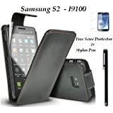 Black Flip Holster Leather Pouch Cover Case For - Samsung Galaxy S2 i9100 & Free Screen Protector & Stylus Pen