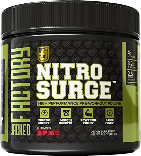 NITROSURGE-Pre-Workout-Supplement-Endless-Energy-More-Strength-Sharp-Focus-Intense-Pumps-Nitric-Oxide-Booster-Preworkout-Energy-Powder-30-Serving-Cherry-Limeaide-85-oz