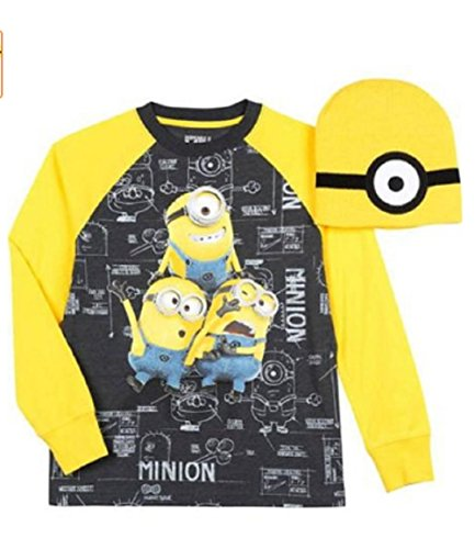 [Despicable Me Minion Long Sleeve Graphic Tee with Beanie (Small)] (Despicable Me Minion Hats)