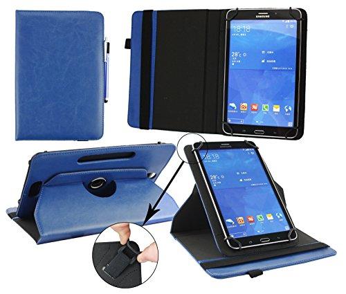 Emartbuy® Trekstor SurfTab Breeze 9.6 Quad 3G 9.6 Pollice Tablet Universale ( 9 - 10 Pollice ) Dark Blu Premium PU Pelle 360° Rotante Folio Wallet Custodia Case Cover + Blu Stilo