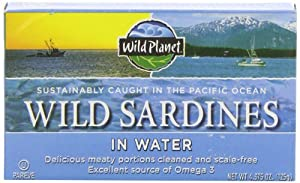 Wild Planet Wild Sardines in Spring Water, 4.375-Ounce Tins (Pack of 6)