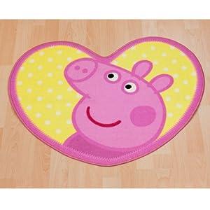 Rug - Peppa Pig - nylon - heart shaped - Pink, Yellow by Peppa Pig