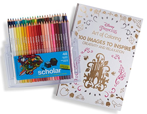 Prismacolor Scholar Colored Pencils, 48 Pack and Adult Coloring Book (Art of Coloring: Disney Princess)