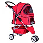 New Red Pet Stroller Cat Dog Cage 3 W...