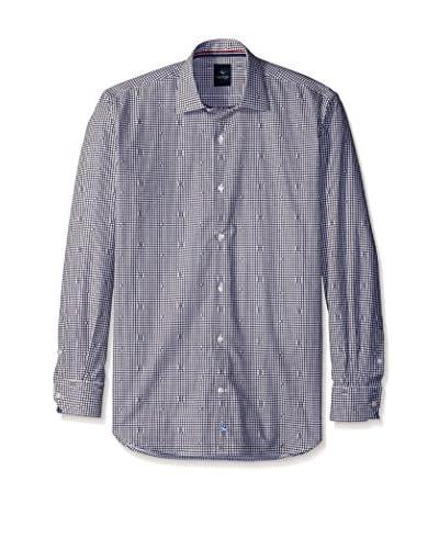 TailorByrd Men's Mini Check Curve Detail Spread Collar Sportshirt