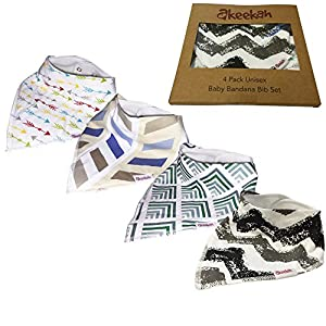 Baby Bandana Drool Bibs 4 Pack by Akeekah Gift Set For Boys Soft & Super Absorbent Organic Cotton with Three Snaps