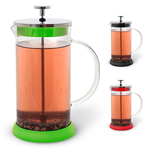Teabloom French Tea Press 34 oz., All Glass Body Tea and Coffee Press, Stainless Steel Filter Press, Removable Silicone Heat Resistant Base (Green) (French Press For Loose Tea compare prices)