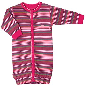 Kushies Baby-Girls Newborn Organic Convertible Gown, Berry Stripe, 3 Months
