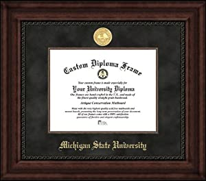 Michigan State University Spartans - Gold Medallion - Suede Mat - Mahogany - Diploma... by Laminated Visuals