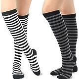 TeeHee Women's Cotton Knee High Multi Packs-Soft Ruffle Top, Pointelle, Stripes