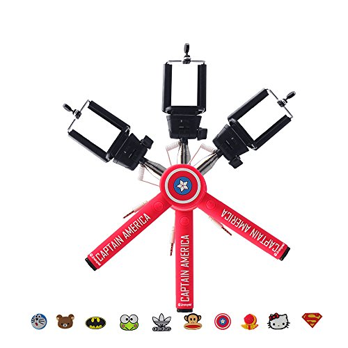 JackGold Cartoon Features Selfie Stick Self-portrait for iPhone & Android Smartphone Pink Captain America (Selfie Stick Canada compare prices)