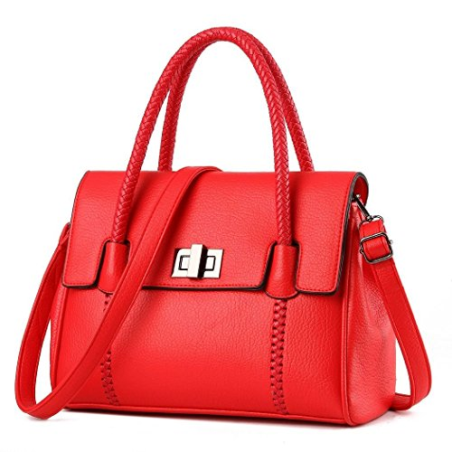 Ryse Womens Fashionable Classic Exquisite Simple Elegant Handbag Shoulder Bag(Red)