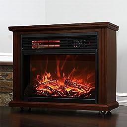 Gracelvoe Large Room Electric Quartz Infrared Fireplace Heater Deluxe Mantel Oak / Walnut (Dark Walnut)