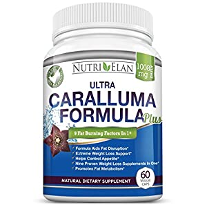Caralluma Fimbriata Extract Formula - Pure Natural - 9 Super Strength Appetite Suppressant In One - Extreme Carb Blocker And Fat Burner - Over 1000mg Of Diuretic And Weight Loss Dietary Herbal Supplements And Products For Maximum Results - Burn Belly Fat
