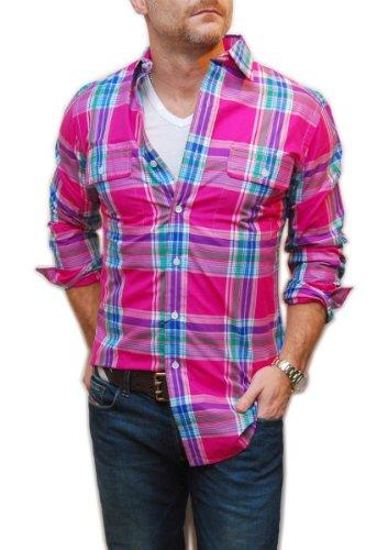 Polo Ralph Lauren Men Dress Shirt Beach Resort Yaht Pink Blue Purple Plaid Small