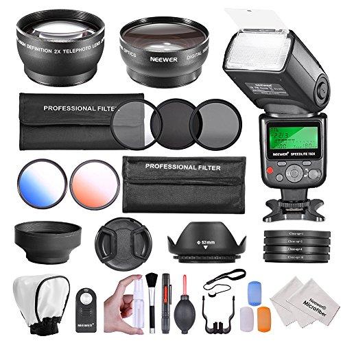 Neewer® ; 52MM Kit Complet d'accessoires pour NIKON DSLR (D5300 D5200 D5100 D5000 D3300 D3200 D90 D80) 52mm 0.45x Objectif Grand Angle + 2x Téléobjectif 52mm + Neewer® ; 750II iTTL Flash pour Nikon + Télécommande + Kit de Filtres (UV, CPL, ND8) + Kit de Macro Close-Up + 2 Filtres de Couleur +Porte-filtres + Kit Parasoleil Pliable + Tulipe Parasoleil + Bouchon Pincé Central + Kit de Flash Diffuseur Pop-Up souple + Deluxe Kit de Nettoyage avec chiffon en microfibre