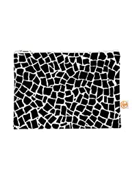 Kess In House British Mosaic Black Everything Bag Flat Pouch By Project M, 8.5 X 6 Inches (Pm1009 Cep01)