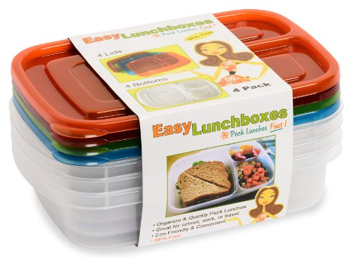 easylunchboxes 3 compartment bento lunch box containers classic set of 4 bp. Black Bedroom Furniture Sets. Home Design Ideas