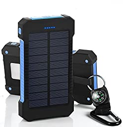 [10000mah Solar Charger with LED Flashlight] Hallomall™ Dual USB Port Solar Portable Phone Charger Power Bank for CellPhones iPad Tablet Cameras, A Hook with Compass(Included) (Blue+Black)