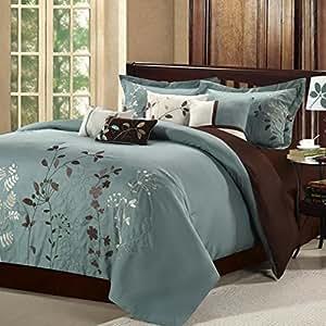 8 piece modern bedding comforter set in floral embroidery on sale king size sage. Black Bedroom Furniture Sets. Home Design Ideas