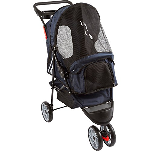 Dark Blue 3-Wheel Trail Terrain Pet Stroller Jogger