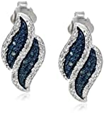 Sterling Silver Blue and White Diamond (0.11cttw, I-J Color, I1-I2 Clarity) Flame Earrings