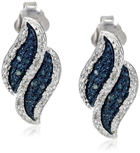 Sterling Silver White And Blue Diamond Flame Post Earrings (1/10 Cttw, I-J Color, I2-I3 Clarity)