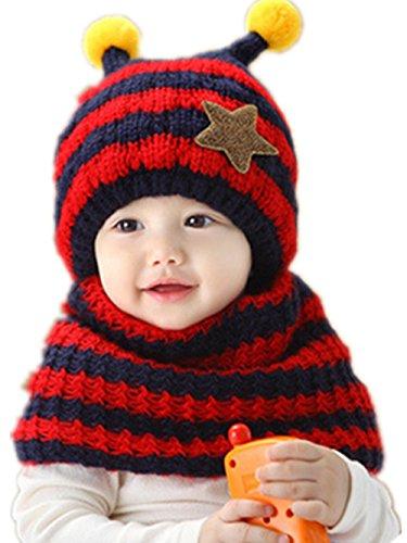 eqlefr-lovely-bee-modeling-winter-plus-velvet-hat-scarf-sets-for-12-48-months-baby