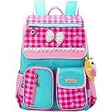 MOONWALK® Light Cute Sweet Bow Princess Grid Primary School Backpacks Shoulders School Book Bag for Girls