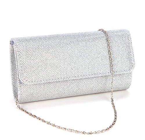 Clorislove-Glitter-Damen-Tasche-Handtasche-Party-Hochzeit-Abendtasche-Kettentasche-Silber