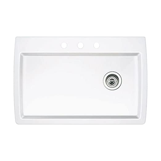 Blanco 440195-3 Diamond 3-Hole Single-Basin Drop-In or Undermount Granite Kitchen Sink, White
