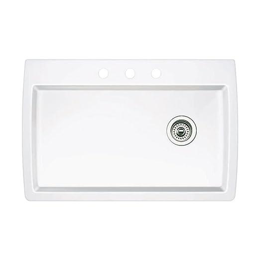 Blanco 440195-3 Diamond 3-Hole Single-Basin Drop-In or Undermount Granite Kitchen Sink, White