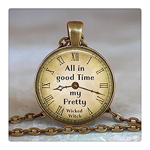 All in Good Time, My Pretty Necklace, Quote Pendant, Wizard of Oz Pendant