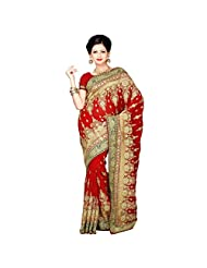 Indian Eyecatchy Red Colored Embroidered Faux Georgette Saree By Triveni