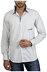 Repique Men's Botton Front Cotton Shirt(Seb-107,White,Medium)