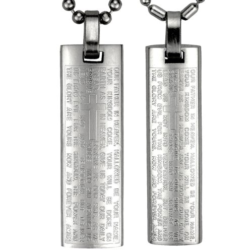 """English Lord'S Prayer And Cross Stainless Steel Pendant Necklace Couples Set 16"""" And 24"""" Chain"""