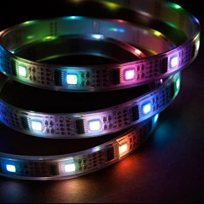 NooElec 5m Addressable RGB LED Strip, 5V, 32 LED/m, Waterproof, WS2801 Full 24-Bit Color, 4-Pin JST-SM Connectors Included and Attached to Both Ends