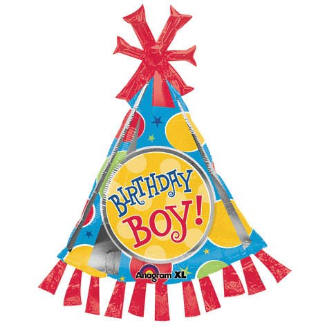 UB FUN A17933 BIRTHDAY BOY PARTY HAT MYLAR BALLOON SUPER SHAPE - 1