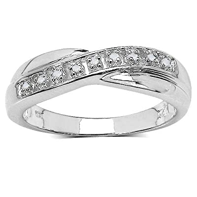 The Diamond Ring Collection: Beautiful Channel Set Diamond Crossover Eternity Ring in Sterling Silver