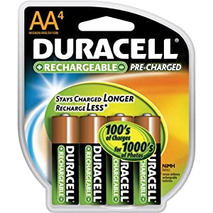 Duracell Rechargeables StayCharged AA Batteries, 4-Count