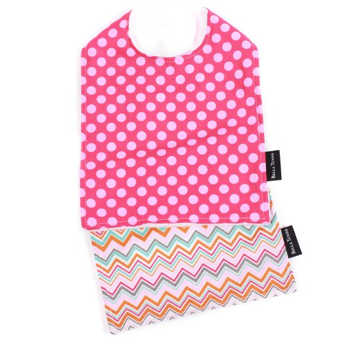 Bella Bib and Burpie Bundle, Hot-to-Dot Fuchsia/Tangerine Zig Zag
