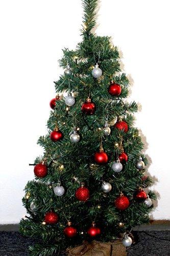weihnachtsbaum 90cm geschm ckter weihnachtsbaum silber rot. Black Bedroom Furniture Sets. Home Design Ideas