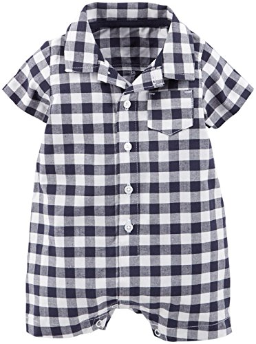 Carter's Baby Boys' Check Romper (Baby) - Blue/White - 6 Months