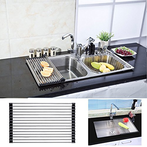 VANRA Foldable Roll up Dish Drying Rack Stainless Steel Over-the-Sink Colander Dish Drainer Tray (Black, 17.7