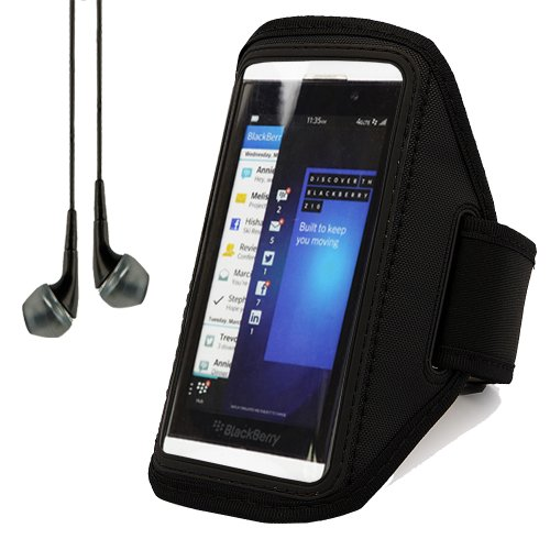 Outdoor Sports Cycling Armband Pouch Case Cover For Blackberry Z 10 / Q 10 (Black) + Black Vangoddy Headphones With Mic