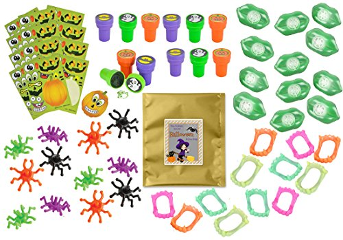 [60 Piece Bulk Halloween Party Favor Bundle Assortment Pack of Toys for Kids Parties, Pinatas, Claw Machines, Classroom or] (Funny Ideas For Girl Halloween Costumes)