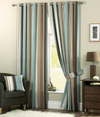 Whitworth Duck Egg Blue Stripe Readymade Lined Eyelet Curtains - 90