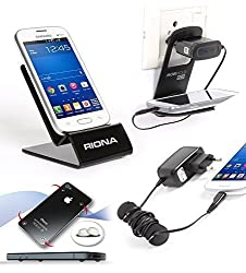 Riona Mobile holder A4S Black + Hanger Stand + Cable Organizer + Scratch Guar... A4SB-C