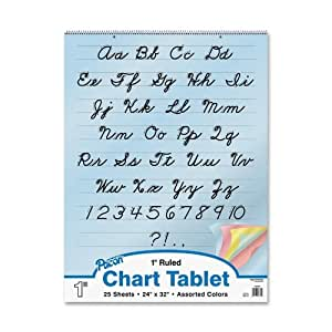 """Pacon Colored Paper Chart Tablet, 24""""X32"""", 1"""" Ruled Cursive Cover, 25 Sheets"""