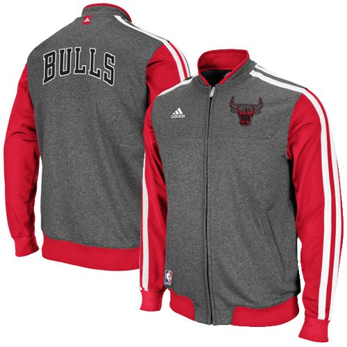 NBA adidas Chicago Bulls On-Court Winter Full Zip Track Jacket - Charcoal/Red (Medium) at Amazon.com